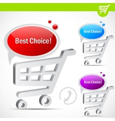 shopping cart with bubble for speech vector image