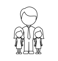 silhouette man her girls twins icon vector image