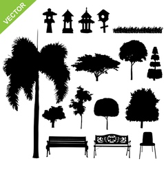 silhouette tree and garden vector image