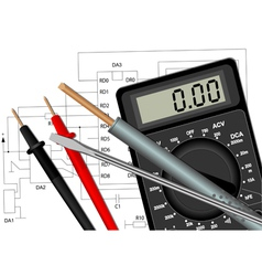 Soldering iron screwdriver and multimeter vector