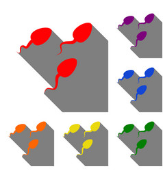 sperms sign set of red orange vector image