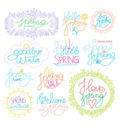 spring time color calligraphy set vector image