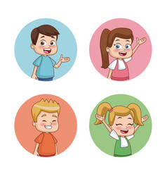 Students kids round icons vector