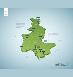 Stylized map north korea isometric 3d green vector