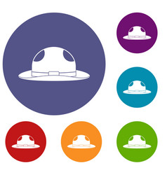 Summer hat icons set vector