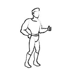 Superhero wearing suit cape boots default image vector
