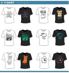 T shirt decorative designs set vector