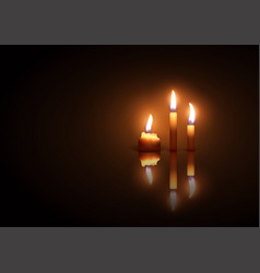 three burning candles on a dark background with vector image