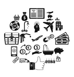 treasury icons set simple style vector image