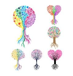 Tree Heart Logo Template vector image