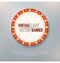 Vintage light circle banner sign Event vector