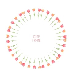 Watercolor floral frametulips cute wreath made of vector