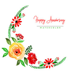 Watercolor floral happy anniversary background vector