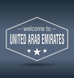 Welcome to United Arab Emirates hexagonal white vector