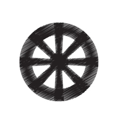 wheel tool antique round draw pictograph vector image