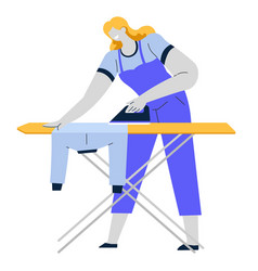 Woman ironing clothes iron and board housework vector