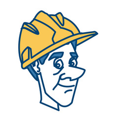 worker face with helmet cartoon vector image