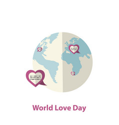 world love day concept with hearts and earth globe vector image