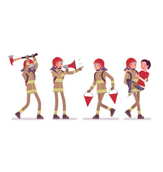 Young male firefighter at work vector
