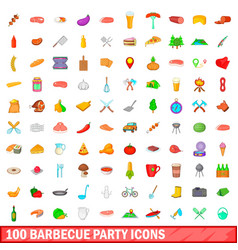 100 barbecue party icons set cartoon style vector image vector image