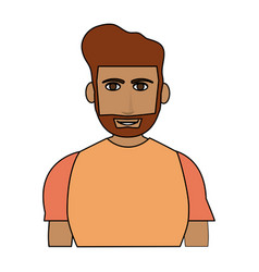 color image cartoon half body guy with atlethic vector image vector image