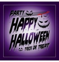 Vintage Happy Halloween Typographical purple vector image