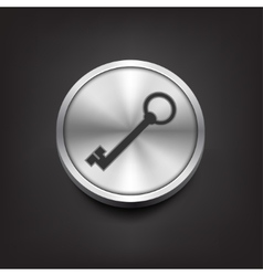 Key icon on silver button vector image