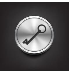 Key icon on silver button vector image vector image
