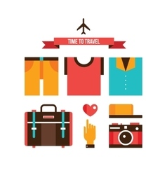 Packing bags Summer clothes Vacation Travel vector image vector image