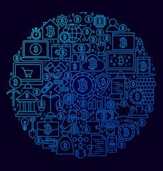bitcoin line icon circle concept vector image