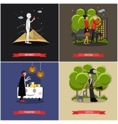 Happy halloween holiday concept posters vector