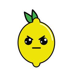 Kawaii nice angry lemon icon vector
