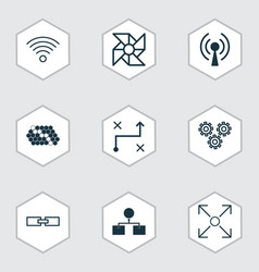 machine icons set collection of wireless vector image