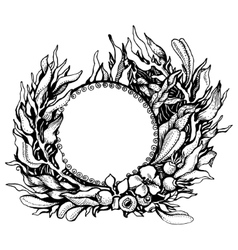Wreath of fantasy leaves vector