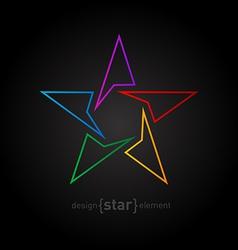 Abstract rainbow thin star design element on black vector image