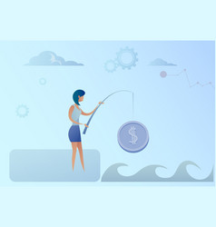Business woman fishing money coin strategy success vector