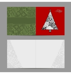 Christmas card doodle pattern tree for your vector image