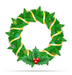 christmas wreath stock vector image vector image