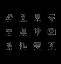metalworking lasers flat white line icons vector image