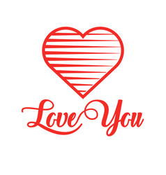 red heart with calligraphy text love you for vector image vector image