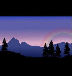 scenery of mountain with rainbow silhouettes vector image