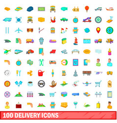 100 delivery icons set cartoon style vector image