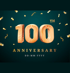 100th anniversary sign with falling confetti vector