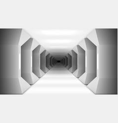 3d futuristic white columns corridor of spaceship vector image