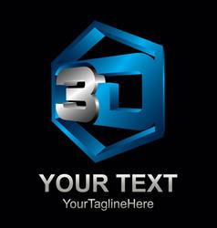3d text shape icon logo 3d shape rengering design vector