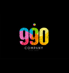 990 number grunge color rainbow numeral digit logo vector image
