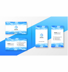 Abstract blue business card template set vector