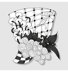 Abstract monochrome doodle ornament vector image