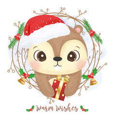 adorable squirrel for christmas decoration vector image