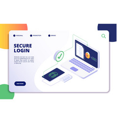 authentication isometric concept password login vector image